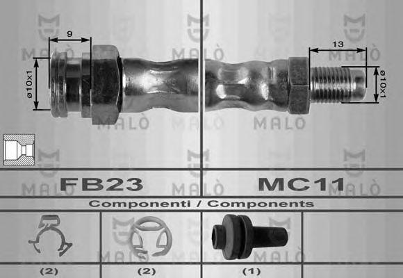 Шланг тормозной передний MALO 8433