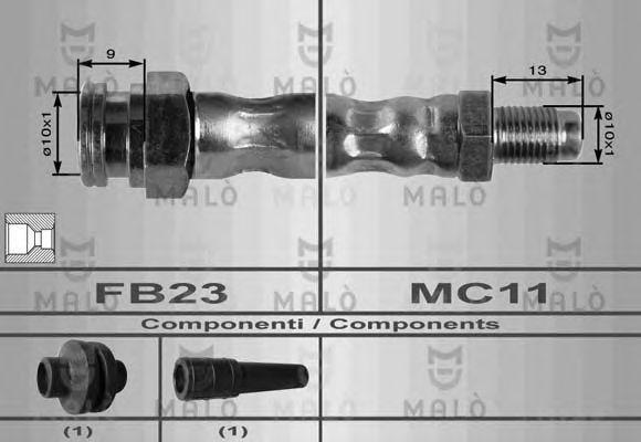 Шланг тормозной MALO 8481