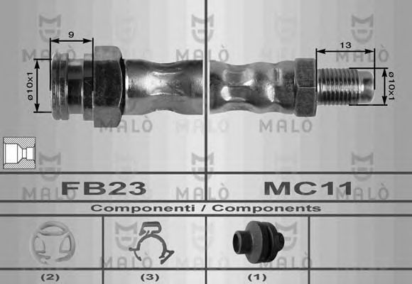 Шланг тормозной MALO 8552
