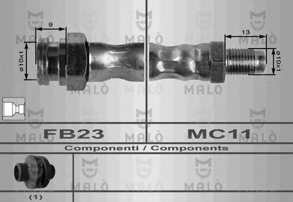 Шланг тормозной MALO 8568