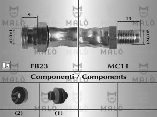 Шланг тормозной передний MALO 8917