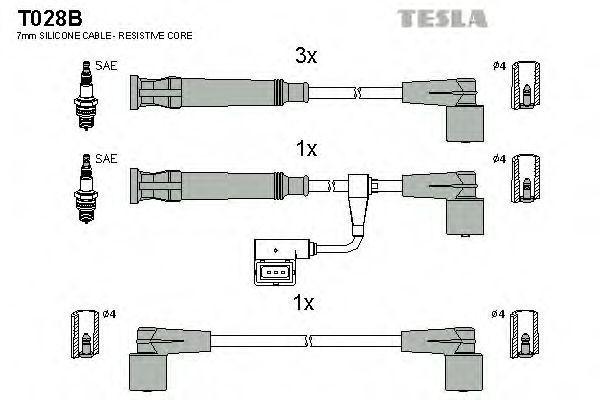 Провода высоковольтные комплект TESLA T028B
