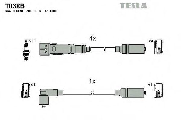 Провода высоковольтные комплект TESLA T038B