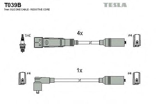 Провода высоковольтные комплект TESLA T039B