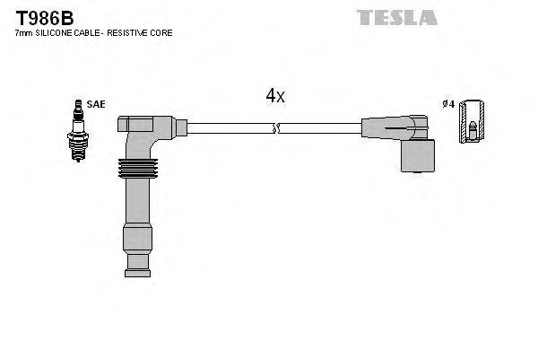 Провода высоковольтные комплект TESLA T986B