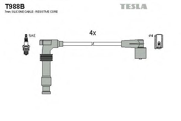 Провода высоковольтные комплект TESLA T988B