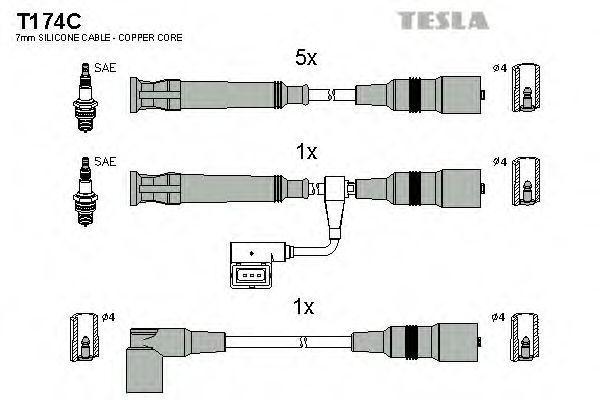 Провода высоковольтные комплект TESLA T174C