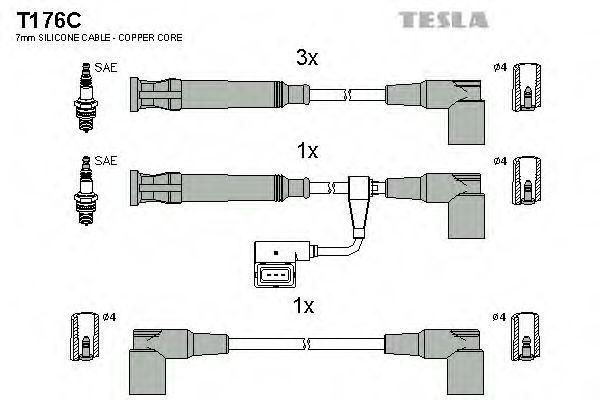 Провода высоковольтные комплект TESLA T176C