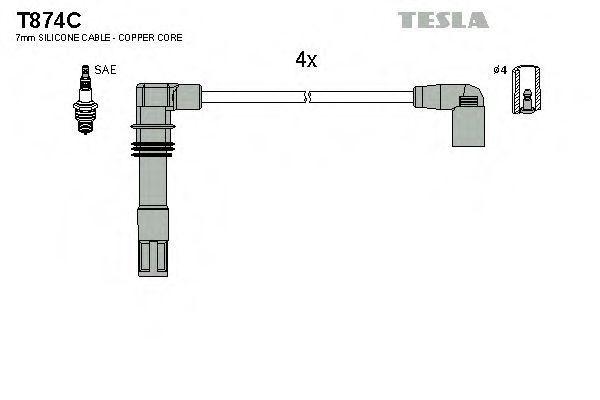 Провода высоковольтные комплект TESLA T874C
