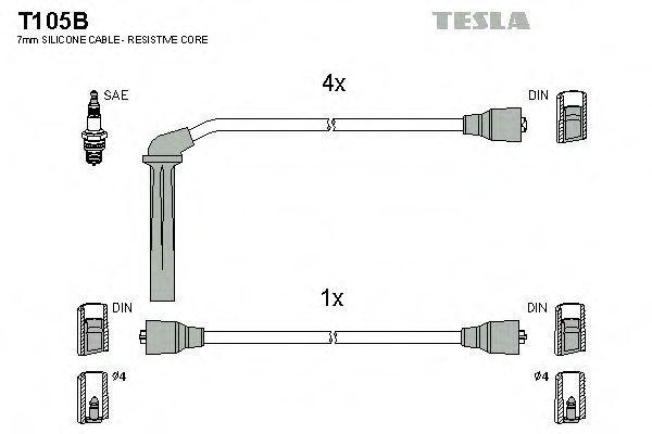Провода высоковольтные комплект TESLA T105B