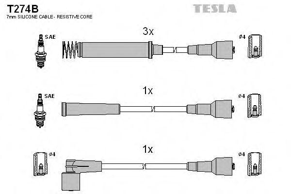 Провода высоковольтные комплект TESLA T274B