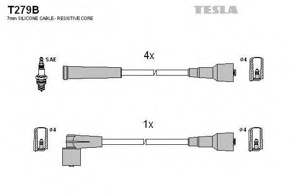 Провода высоковольтные комплект TESLA T279B