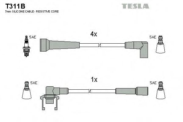Провода высоковольтные комплект TESLA T311B