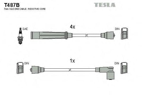 Провода высоковольтные комплект TESLA T487B