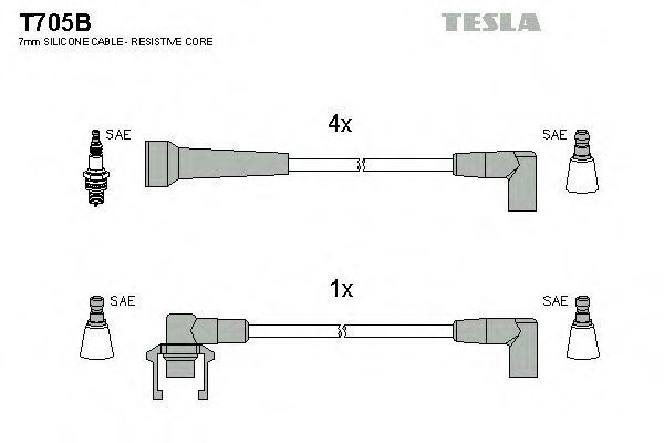 Провода высоковольтные комплект TESLA T705B