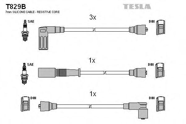 Провода высоковольтные комплект TESLA T829B