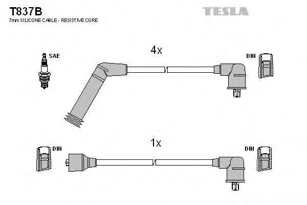 Провода высоковольтные комплект TESLA T837B