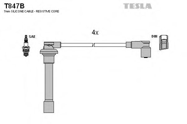 Провода высоковольтные комплект TESLA T847B