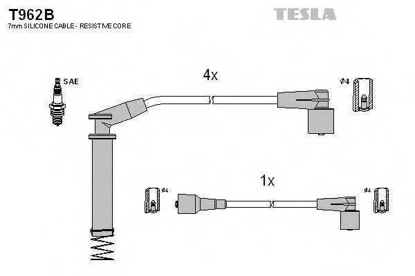 Провода высоковольтные комплект TESLA T962B