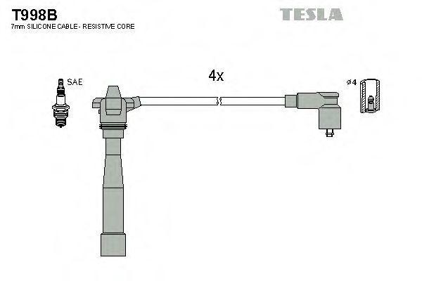 Провода высоковольтные комплект TESLA T998B