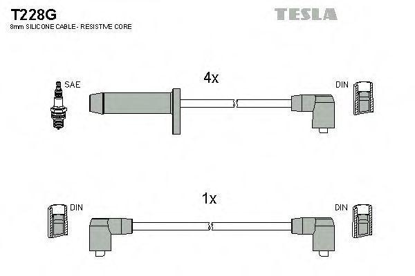 Провода высоковольтные комплект TESLA T228G