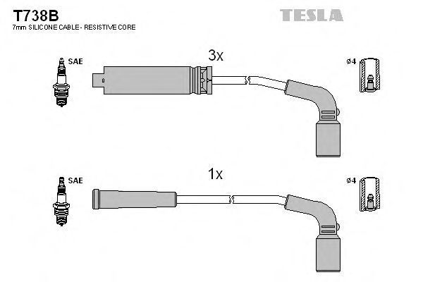Провода высоковольтные комплект TESLA T738B