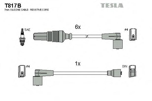 Провода высоковольтные комплект TESLA T817B