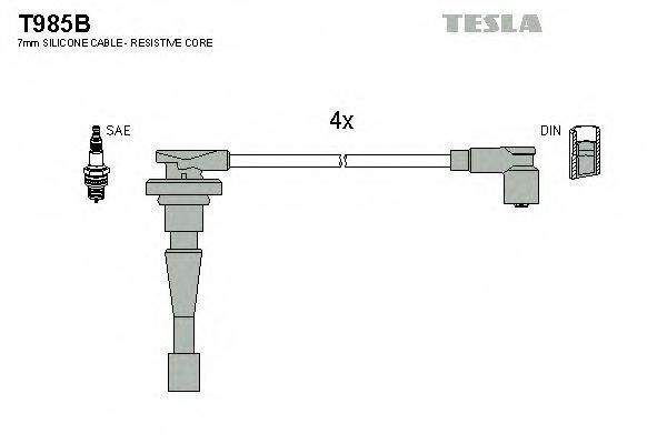 Провода высоковольтные комплект TESLA T985B