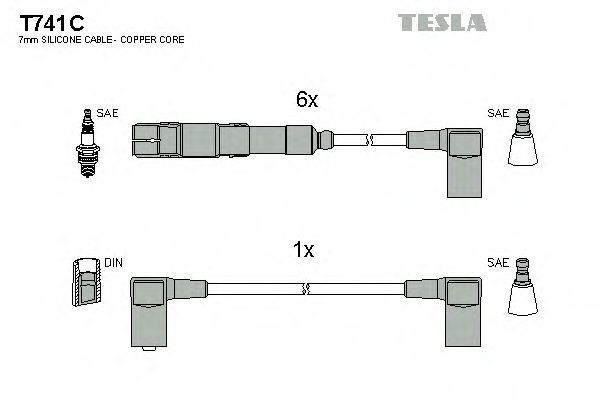Провода высоковольтные комплект TESLA T741C