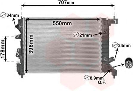 Радиатор, охлаждение двигателя VAN WEZEL 08002047