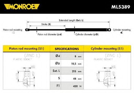 Газовая пружина, капот MONROE ML5389
