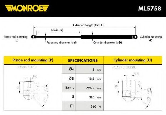 Амортизатор капота MONROE ML5758