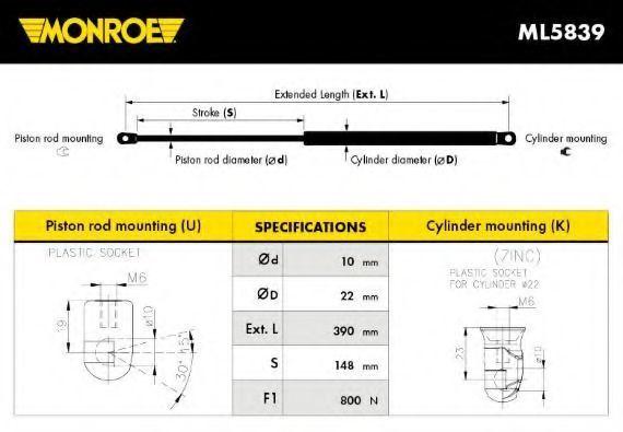 Амортизатор багажника MONROE ML5839