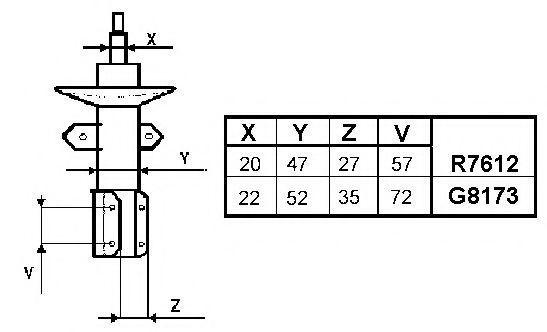 Амортизатор подвески передний MONROE R7612