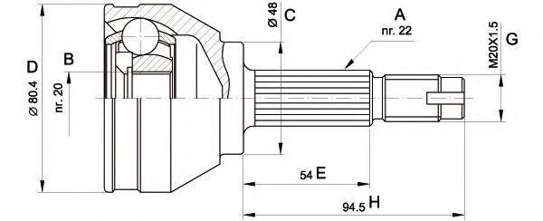 Шарнирный комплект, приводной вал OPEN PARTS CVJ500210