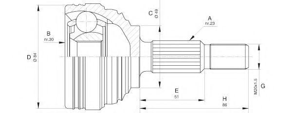 Шарнирный комплект, приводной вал OPEN PARTS CVJ561310