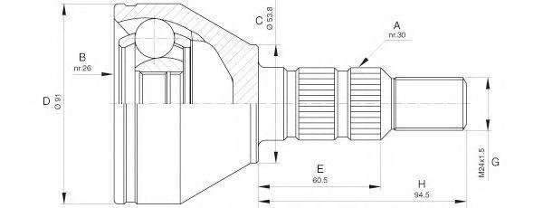 Шарнирный комплект, приводной вал OPEN PARTS CVJ564110