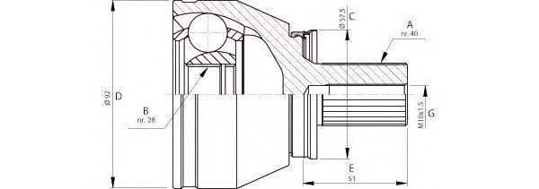 Шарнирный комплект, приводной вал OPEN PARTS CVJ571310