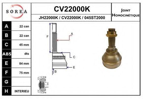 Шарнирный комплект, приводной вал EAI CV22000K