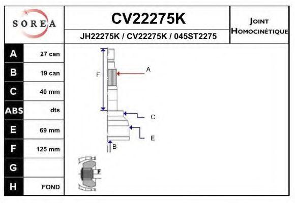 Шарнирный комплект, приводной вал EAI CV22275K