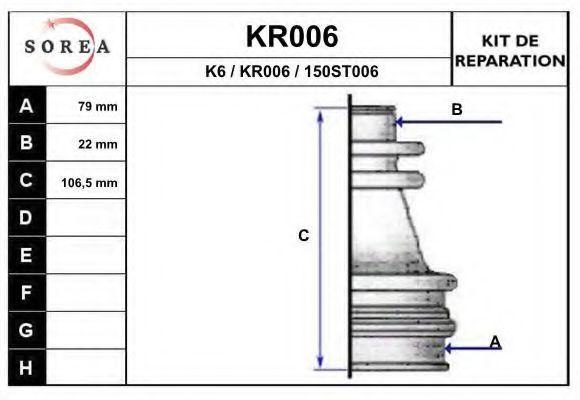 Комплект пылника, приводной вал EAI KR006