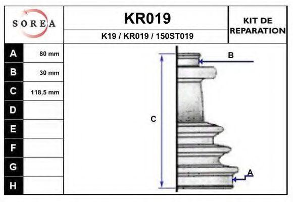Комплект пылника, приводной вал EAI KR019