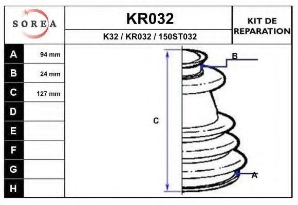 Комплект пылника, приводной вал EAI KR032