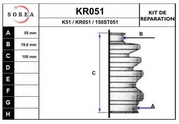 Комплект пылника, приводной вал EAI KR051