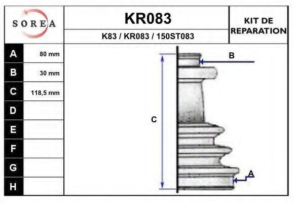 Комплект пылника, приводной вал EAI KR083