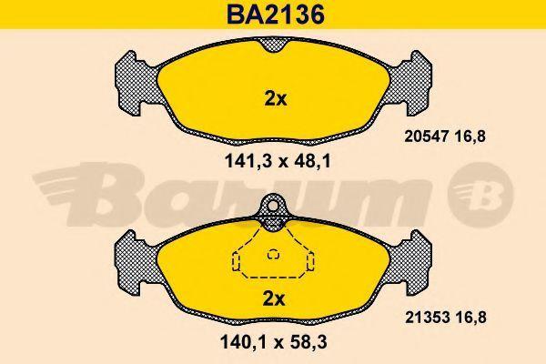 Комплект тормозных колодок, дисковый тормоз BARUM BA2136