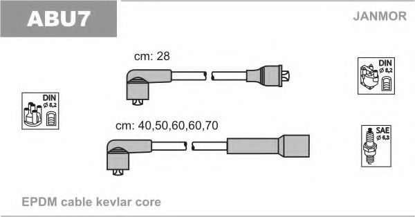 Провода высоковольтные комплект JANMOR ABU7