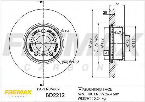 Диск тормозной FREMAX BD2212