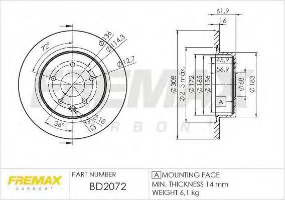 Диск тормозной FREMAX BD2072