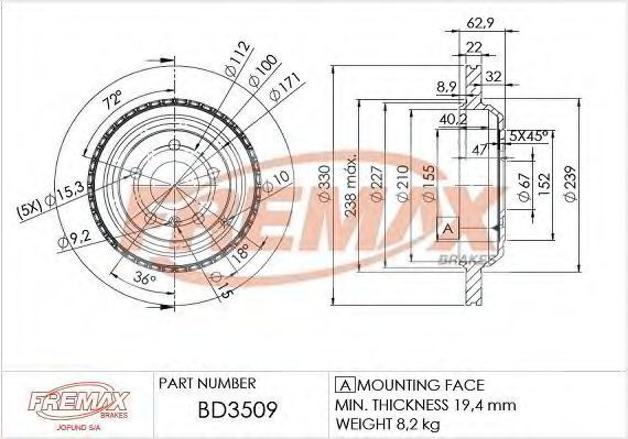 Диск тормозной FREMAX BD3509